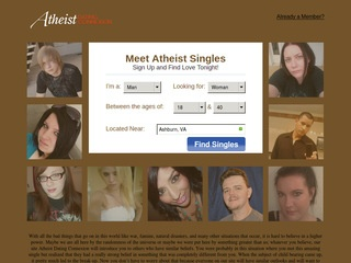 Atheist Dating Connexion Homepage Image