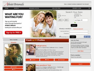 Atheist Personals Homepage Image